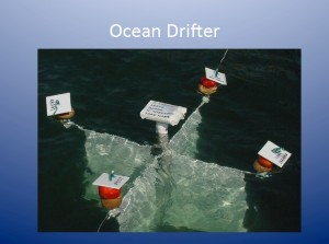 A drifter is equipped with a transmitter and other identifying information.